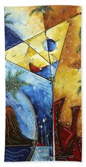 Island Martini  Original Madart Painting Beach Towel