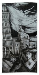 Beach Towel featuring the drawing Italian Fantasies. Pisa by Anna  Duyunova