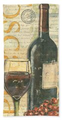 Italian Wine And Grapes Beach Towel by Debbie DeWitt