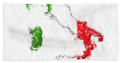 Italy Painted Flag Map Beach Sheet