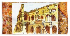 Italy Sketches Rome Colosseum Ruins Beach Towel