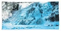 Ithaca Falls In Winter Beach Towel