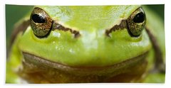 It's Not Easy Being Green _ Tree Frog Portrait Beach Towel by Roeselien Raimond