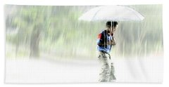Beach Towel featuring the photograph It's Raining Outside by Heiko Koehrer-Wagner