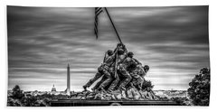 Iwo Jima Monument Black And White Beach Sheet