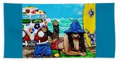 J. C. Beaching It In 1961 Beach Towel by Jackie Carpenter
