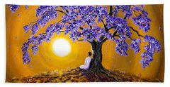Jacaranda Sunset Meditation Beach Towel