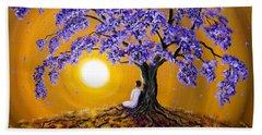 Jacaranda Sunset Meditation Beach Sheet by Laura Iverson