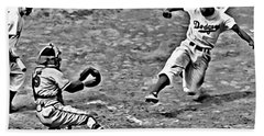 Jackie Robinson Stealing Home Beach Sheet