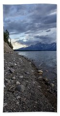 Beach Towel featuring the photograph Jackson Lake Shore With Grand Tetons by Belinda Greb
