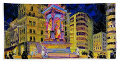 Jacobins Fountain During The Festival Of Lights In Lyon France  Beach Towel