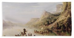 Jacques Cartier 1491-1557 Discovering The St. Lawrence River In 1535, 1847 Oil On Canvas Beach Towel