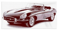 Jaguar E-type - Cross Hatching Beach Sheet
