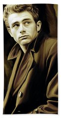 James Dean Artwork Beach Towel by Sheraz A
