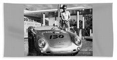 James Dean Filling His Spyder With Gas Black And White Beach Sheet by Doc Braham