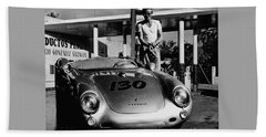 James Dean Filling His Spyder With Gas In Black And White Beach Sheet by Doc Braham
