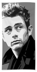 James Dean In Black And White Beach Towel by Douglas Simonson