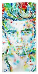 James Dean Smoking Cigarette - Watercolor Portarit Beach Towel by Fabrizio Cassetta