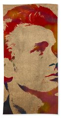 James Dean Watercolor Portrait On Worn Distressed Canvas Beach Towel by Design Turnpike