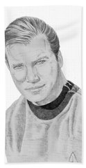 Beach Towel featuring the drawing James Tiberius Kirk by Thomas J Herring