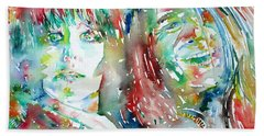 Janis Joplin And Grace Slick Watercolor Portrait.1 Beach Sheet
