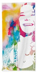 Janis Joplin Watercolor Beach Towel