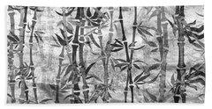 Japanese Bamboo Grunge Black And White Beach Towel