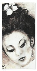 Japanese Girl. Beach Towel by Francine Heykoop