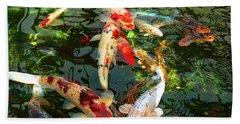Japanese Koi Fish Pond Beach Towel