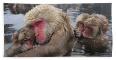 Beach Towel featuring the photograph Japanese Macaque Grooming Mother by Thomas Marent