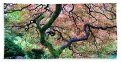 Japanese Tree In Garden Beach Sheet by Athena Mckinzie