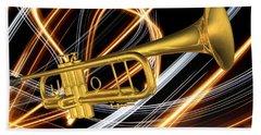 Jazz Art Trumpet Beach Towel