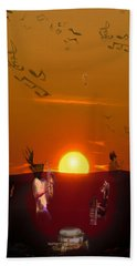 Beach Towel featuring the digital art Jazz Fest by Cathy Anderson