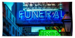 Jazz Funeral And Jester On Bourbon St. Beach Towel