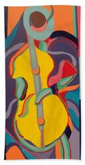 Jazzamatazz Cello Beach Towel by Angelo Thomas