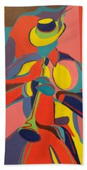 Jazzamatazz Horn Beach Towel by Angelo Thomas