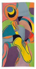 Jazzamatazz Saxophone Beach Towel by Angelo Thomas
