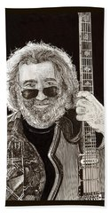 Jerry Garcia String Beard Gutaire Beach Towel by Jack Pumphrey