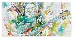 Jerry Garcia Playing The Guitar Watercolor Portrait.1 Beach Sheet by Fabrizio Cassetta
