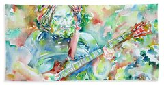 Jerry Garcia Playing The Guitar Watercolor Portrait.3 Beach Towel