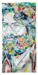 Jerry Garcia Watercolor Portrait.2 Beach Sheet