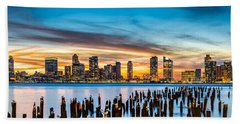 Jersey City Panorama At Sunset Beach Sheet