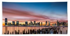 Jersey City Skyline At Sunset Beach Towel