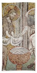 Jesus And Saint Peter, Detail From Jesus Washing The Feet Of The Apostle Mosaic Beach Towel