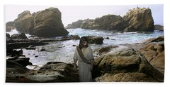 Jesus Christ- In The Company Of Angels Beach Towel