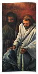 Jesus Healing Beggar Beach Sheet by Donna Tucker