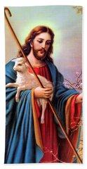 Jesus Shepherd Beach Towel by Munir Alawi