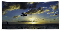 jetBlue landing at St. Maarten Beach Towel by David Gleeson