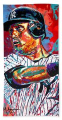 Jeter At Bat Beach Towel by Maria Arango