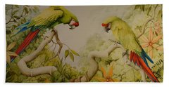 Jewels Of The Rain Forest  Military Macaws Beach Towel